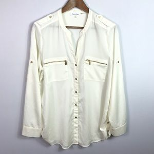 Calvin Klein Womens Button Down Blouse Large Ivory